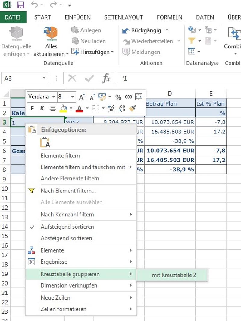 Neue Features von Analysis for Office 2.4 25.04.2017 Uhr